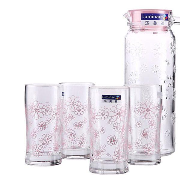 Bộ bình ly thủy tinh Luminarc 5 món Funny Flower